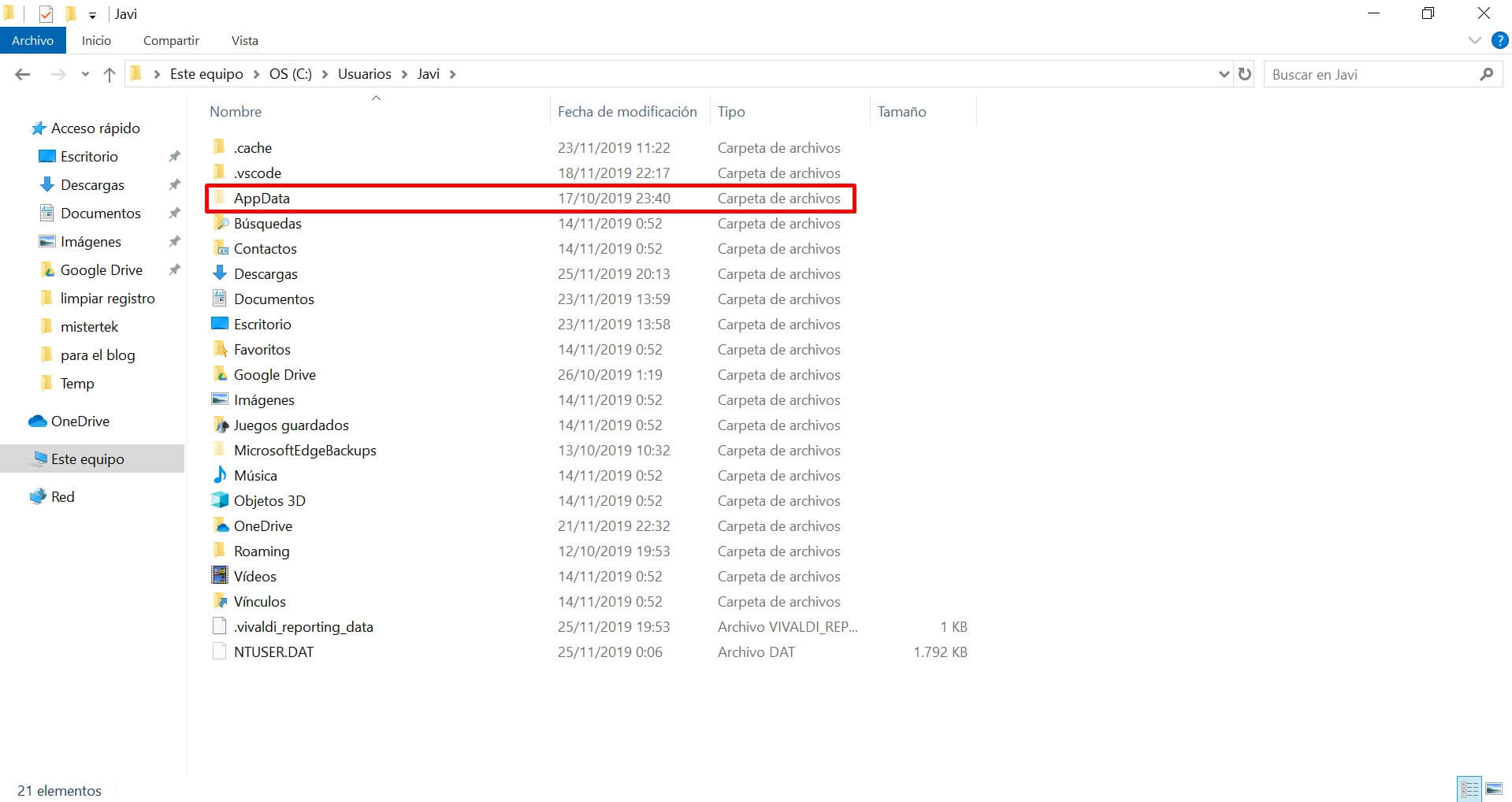 localización de appdata en Windows