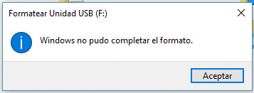 error windows no pudo completar el formato