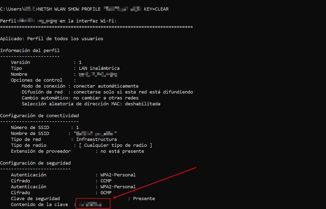 información perfil wifi cmd contenido de la clave