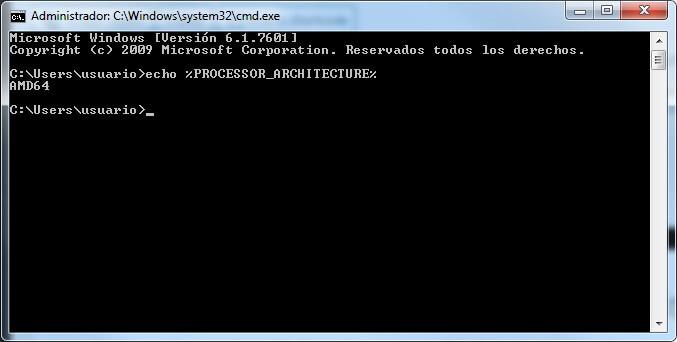 comando para ver si mi windows es de 32bits o 64bits