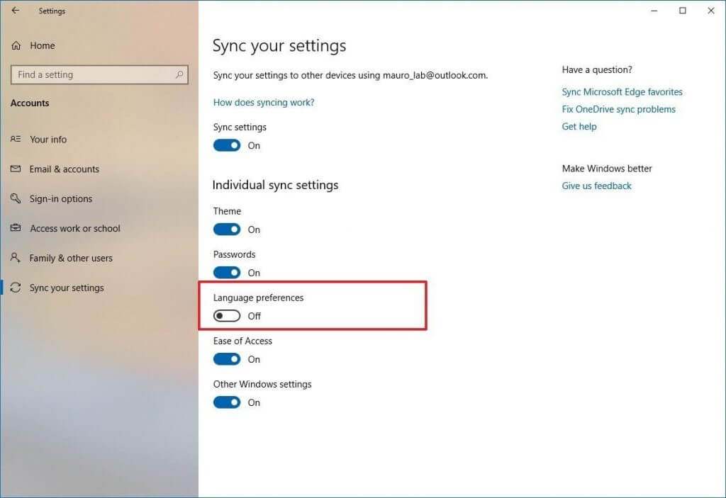 Windows 10 disable language sync option