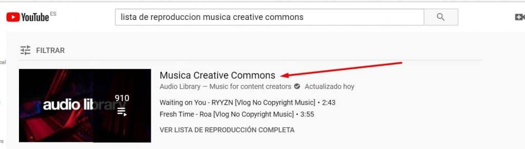 buscar playlist youtube