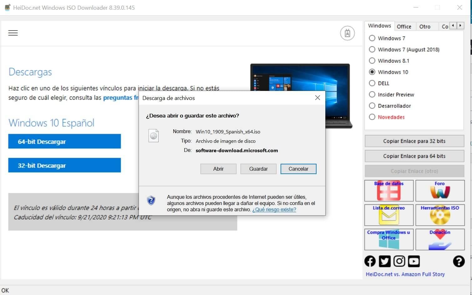 descargar ultima versión de Windows en Español en ISO