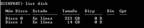 listado de discos diskpart