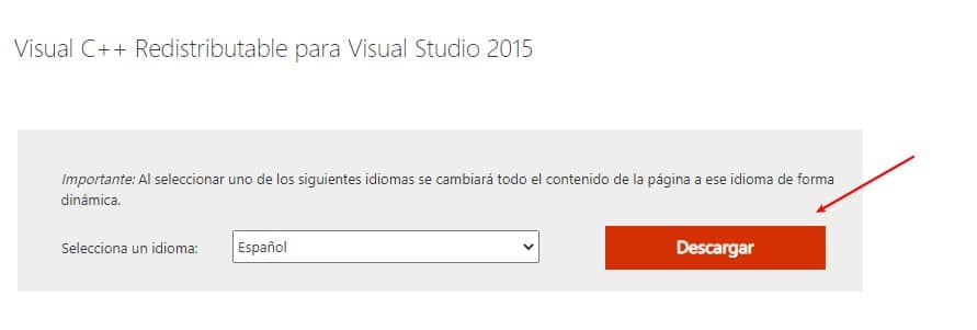 Descargar Microsoft-Visual C++ redistributable 2015