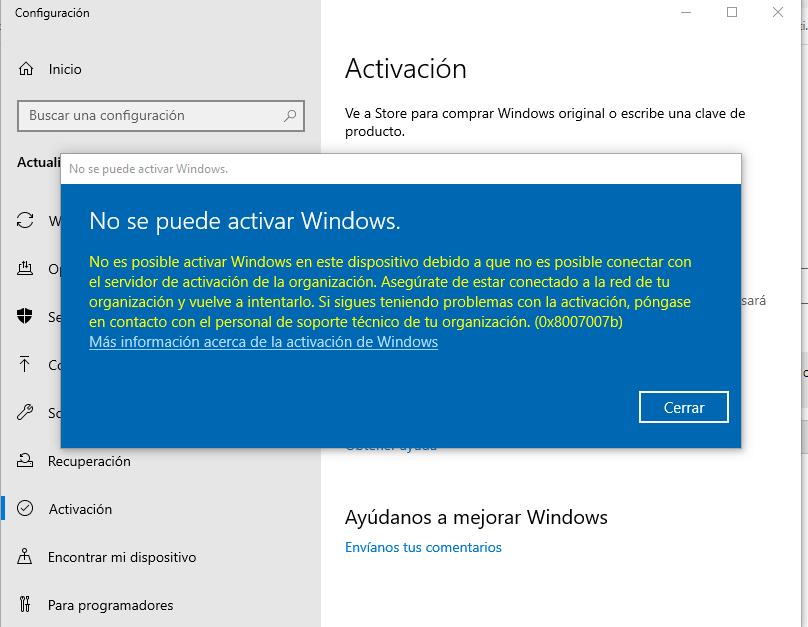 No se puede activar Windows