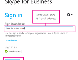 Sign-up for Skype for Business