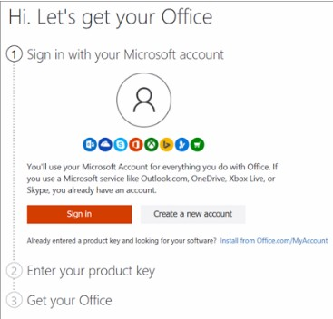 Signing in Microsoft account
