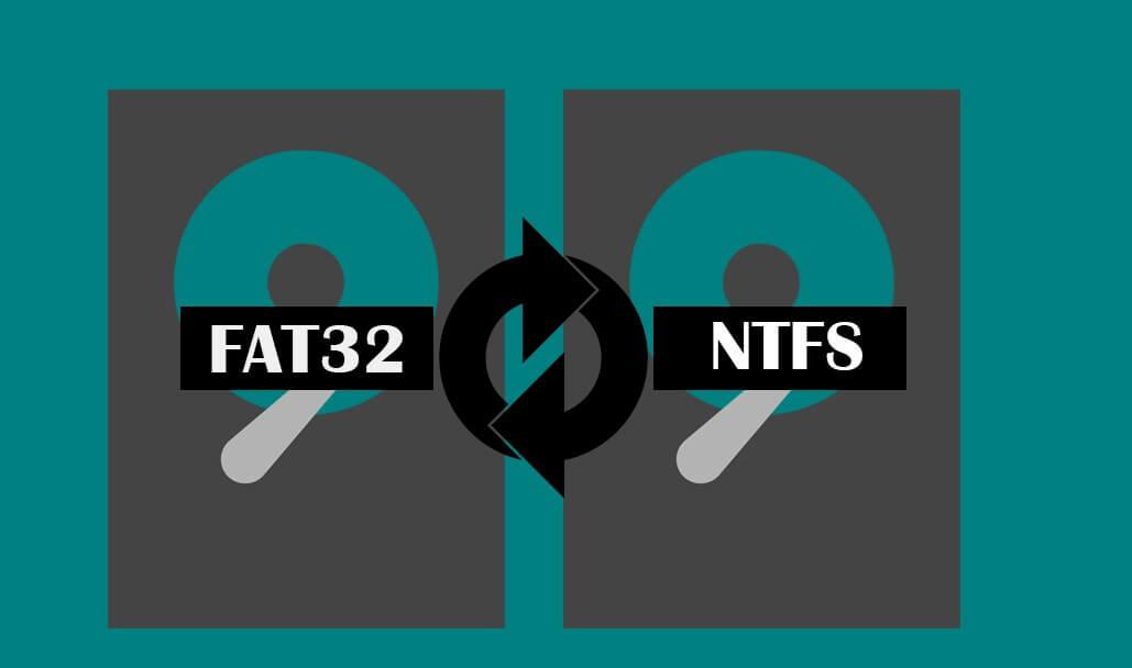 de ntfs a fat32 y de fat32 a ntfs