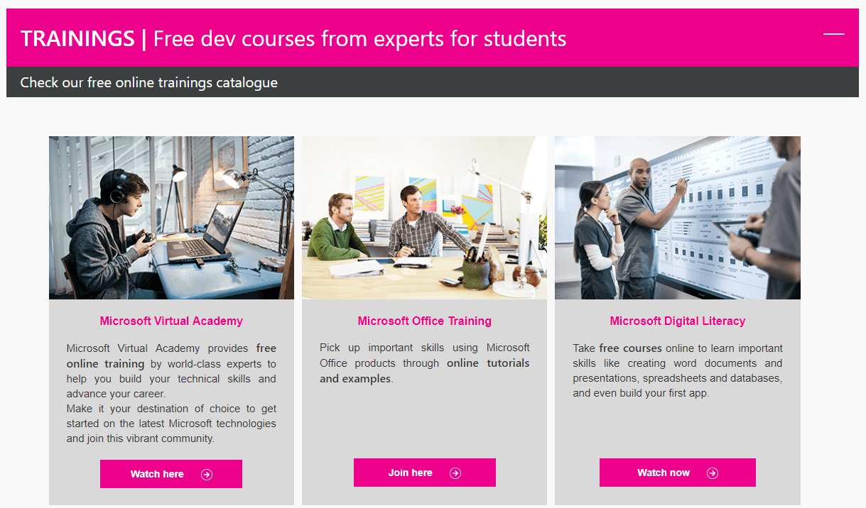 Free dev courses and trainings