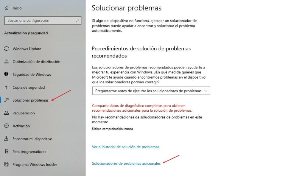 solucionar problemas adicionales
