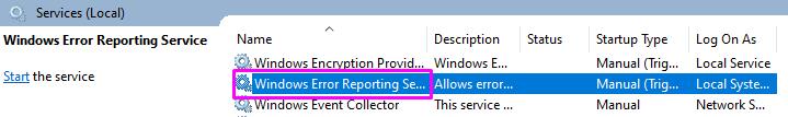 Windows Error Reporting Service