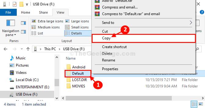 Copia por defecto desde USB