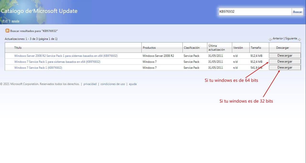 descargar service pack offline desde Windows Catalog