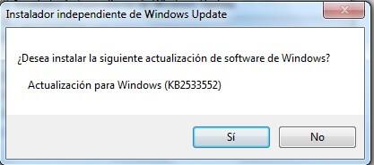 ¿Desea instalar la siguiente actualización de software? Actualización de Wondows kb2533552