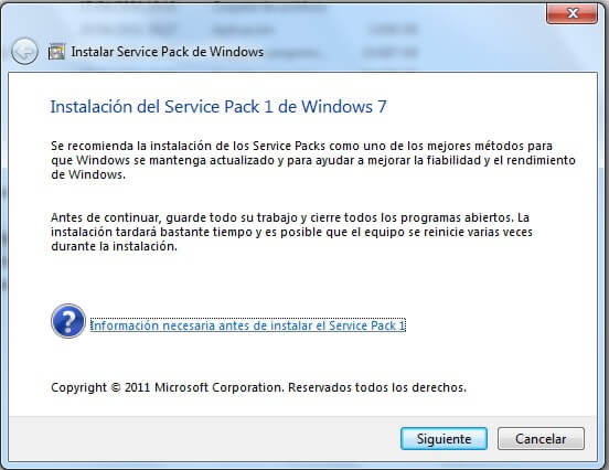 instalación de service pack para Windows 7
