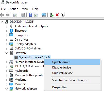 Actualizar firmware del sistema
