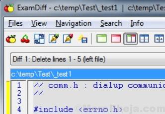 examdiff comparación de archivos