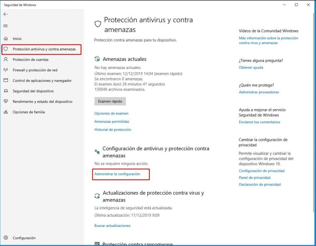 Administrar configuración de seguridad de windows