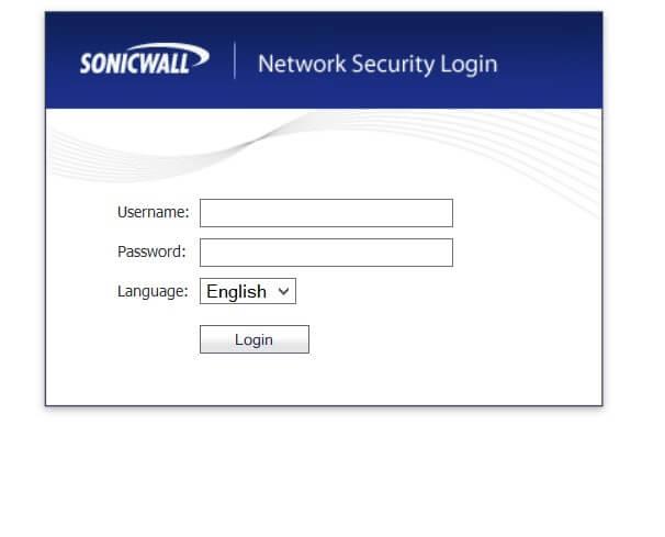 pantalla de login de sonicwall