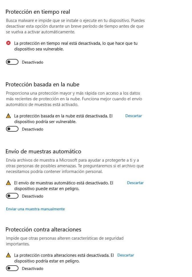 opciones desactivar Windows defender